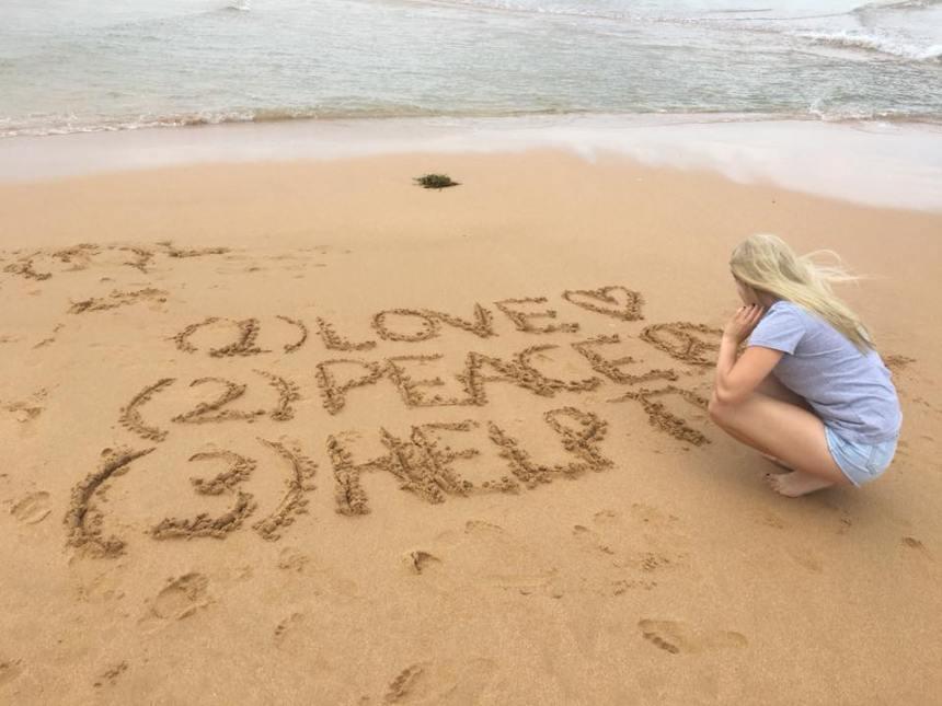 JK Tayla beach writing